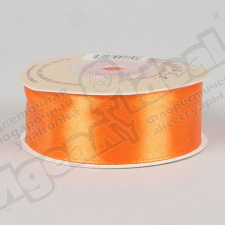 Лента атласная 25мм х 20м оранжевая