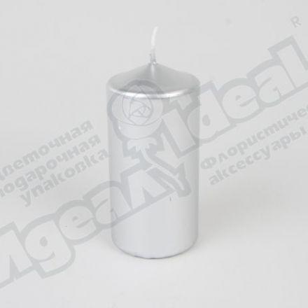 Свеча пенек 60х120, серебряная