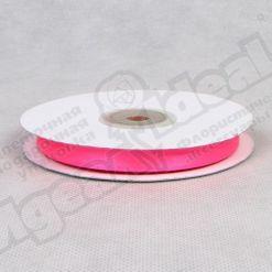 Лента атласная 10мм х 30м К, ярко-розовая