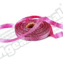 Лента парча 10мм х 25м, розовая