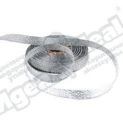 Лента парча 10мм х 25м, серебро