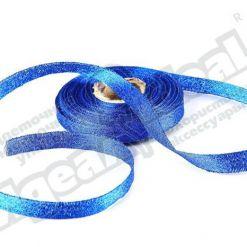 Лента парча 10мм х 25м, синяя