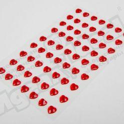 Наклейки на листе стразы Сердце, 8мм, 63шт.