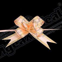 Бант-бабочка зол. полоса 32, 10 шт., персиковый