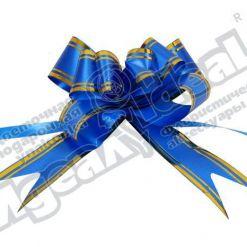 Бант-бабочка зол. полоса 32, 10 шт., синий