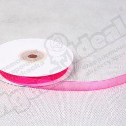 Лента органза 10мм х 30м ярко-розовая
