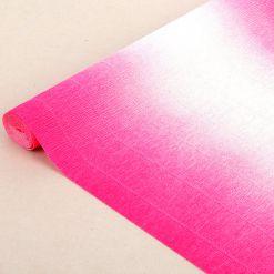 Бумага гофрированная простая-переход, 180гр, 600/1 бело-малиновый, 50х250 см, Cartotecnica Rossi (Италия)
