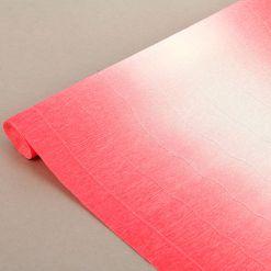 Бумага гофрированная простая-переход, 180гр, 600/4 бело-розовая, 50х250 см, Cartotecnica Rossi (Италия)