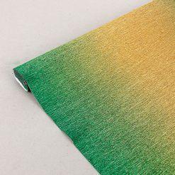 Бумага гофрированная металл-переход, 801/2 зелено-золотая, 180 гр., 50х250 см, Cartotecnica Rossi (Италия)