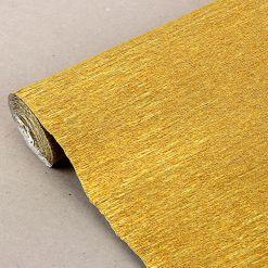 Бумага гофрированная металл, 140гр, 911 золотая, 50х250 см, Cartotecnica Rossi (Италия)