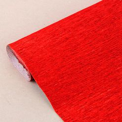Бумага гофрированная. металл, 140гр, 913 красная, 50х250 см, Cartotecnica Rossi (Италия)