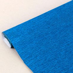 Бумага гофрированная металл, 140гр, 915 синяя, 50х250 см, Cartotecnica Rossi (Италия)