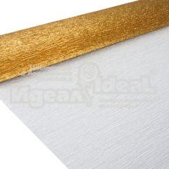 Бумага гофрированная металл, 140гр, 917 антично-золотая, 50х250 см, Cartotecnica Rossi (Италия)