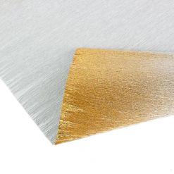 Бумага гофрированная металл-переход, 802/3 серебряно-золотая, 180 гр., 50х250 см, Cartotecnica Rossi (Италия)