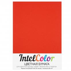 Бумага цветная IntelColor (А4, 80 г/кв.м, Кораллово-красный, 50 листов)