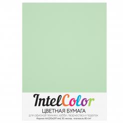 Бумага цветная IntelColor (А4, 80 г/кв.м, Зеленый, 50 листов)