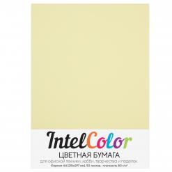 Бумага цветная IntelColor (А4, 80 г/кв.м, Желтый, 50 листов)