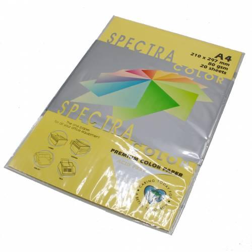 Бумага цветная Spectra Color IT160, Цвет: Yellow Желтый, 20 листов