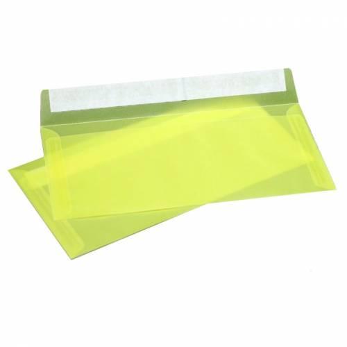 Конверт из Желтой кальки, Е65 100х220 мм, прозрачный, лента, 10 шт
