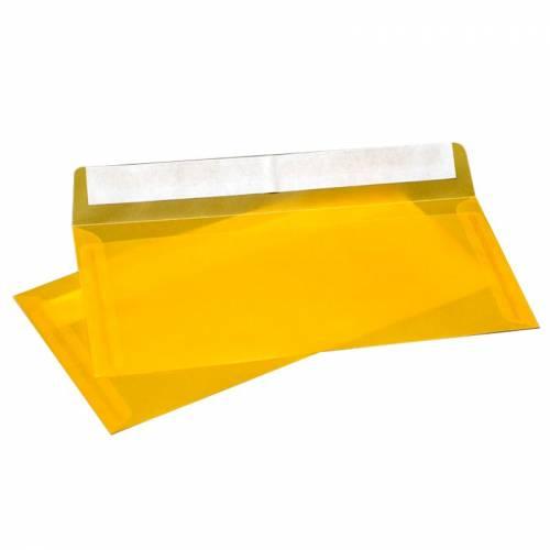 Конверт из Темно-Желтой кальки, Е65 100х220 мм, прозрачный, лента, 10 шт