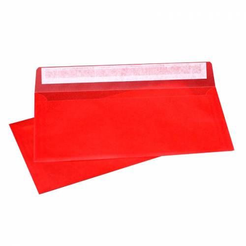 Конверт из Красной кальки, Е65 100х220 мм, прозрачный, лента, 10 шт