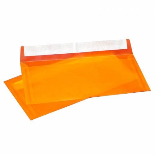 Конверт из Оранжевой кальки, Е65 100х220 мм, прозрачный, лента, 10 шт