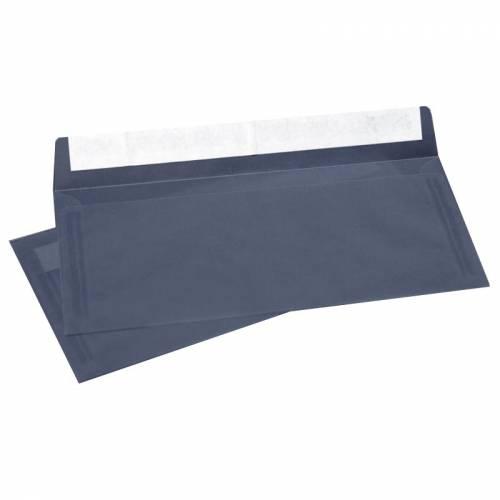 Конверт из Темно-синей кальки, Е65 100х220 мм, прозрачный, лента, 10 шт