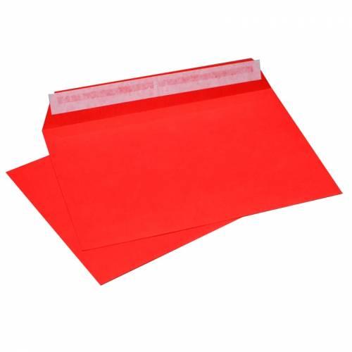 Конверт Красный, формат C6, плотность 120 гр./м2, лента, 20 шт