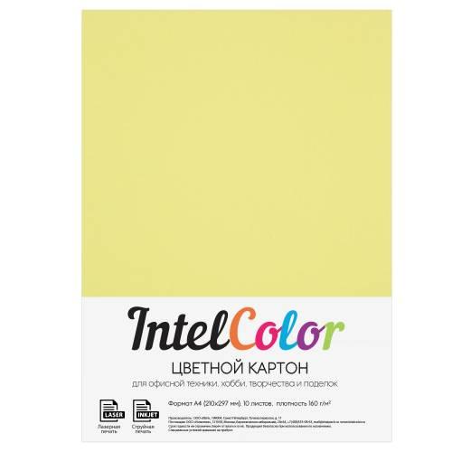 Цветной картон, лимонный, формат А4, 10 листов