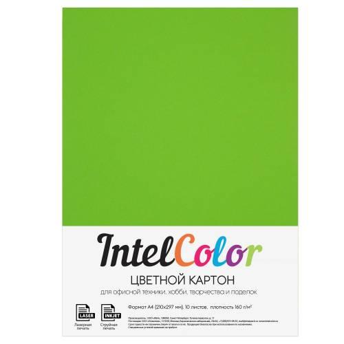 Цветной картон, ярко-зеленый, формат А4, 10 листов