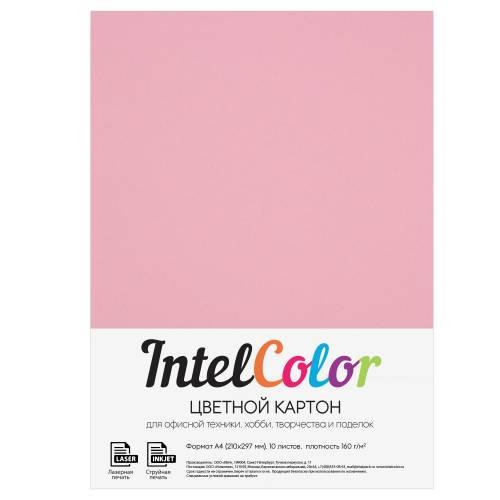 Цветной картон, розовый, формат А4, 10 листов
