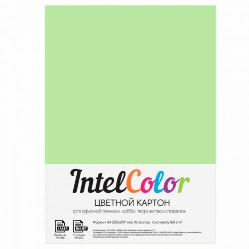 Цветной картон, зеленый, формат А4, 10 листов